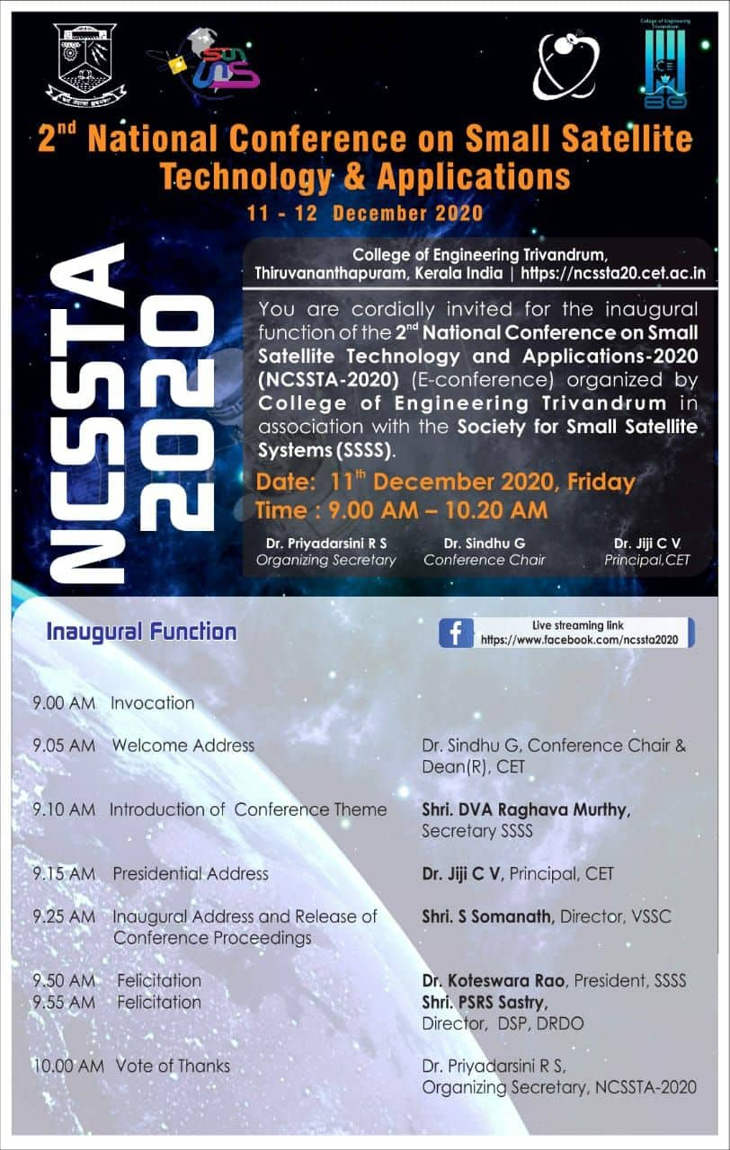 2nd National Conference on Small Satellite Technology and Applications – NCSSTA 2020 Edition