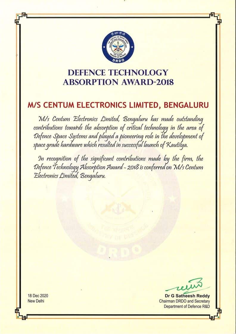 Centum receives the Defence Technology Award !